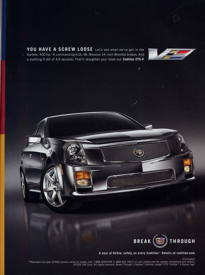 advertisement for a 2006 CTS-V