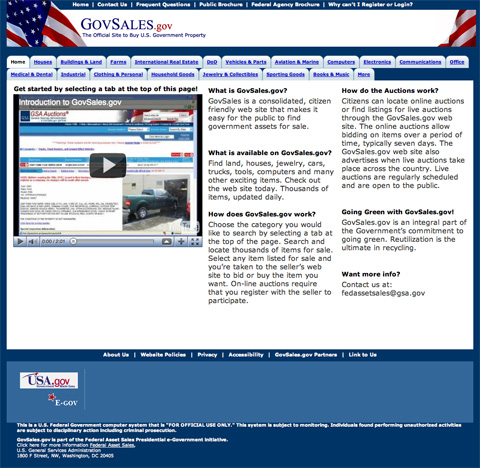 Screenshot of GovSales.gov